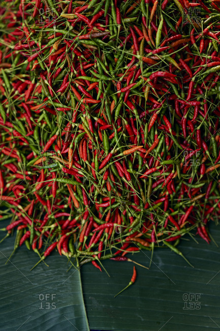 Overhead view of fresh chilis at a market in Luang Prabang, Laos