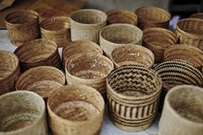 Empty baskets for sticky rice, traditionally used during alms ceremonies in the mornings in Luang Prabang, Laos