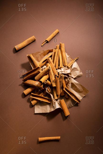Overhead view of sticks of cinnamon