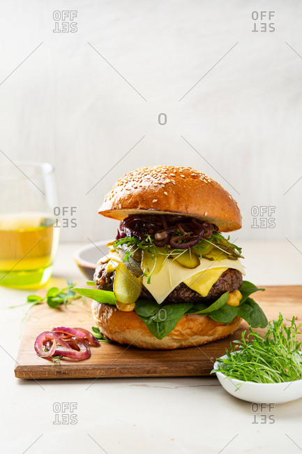 Close up of big hamburger with double cheese