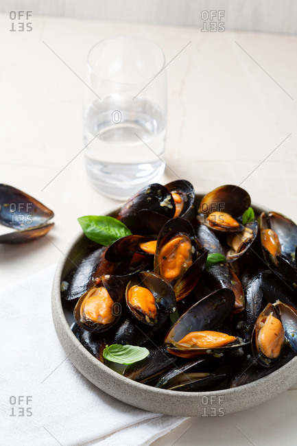 Close up of mussels in a deep bowl