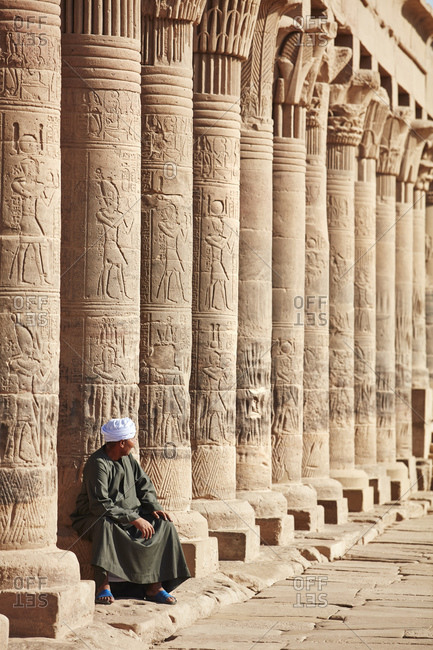 July 12, 2019: Temple guardian at the Philae Temple, Agilkia Island, Aswan