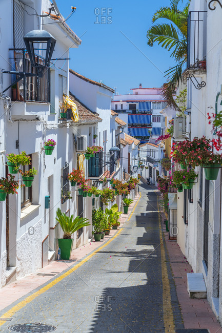 May 29, 2019: Residential street in Spain, Andalusia, Estepona, Calle Pintado
