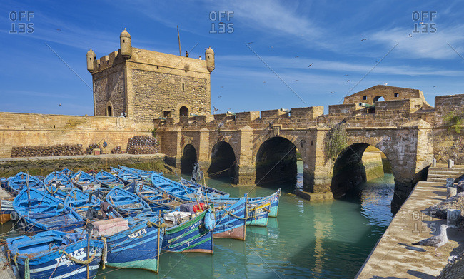 October 4, 2019: Docked boats in Essaouira, Morocco