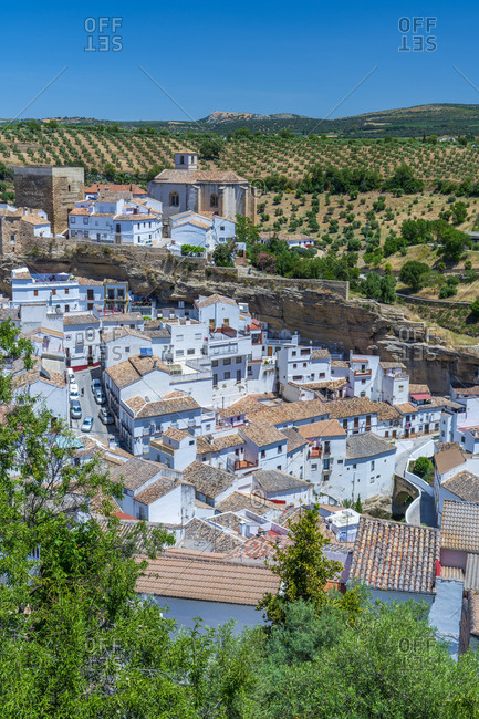 May 28, 2019: White town setting along a narrow river Trejo gorge, seen from the viewpoint above