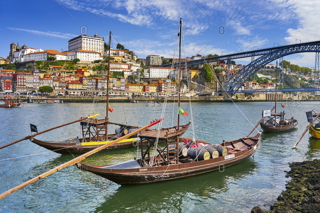 December 3, 2020: Traditional Rabelo Boats, Porto, Portugal