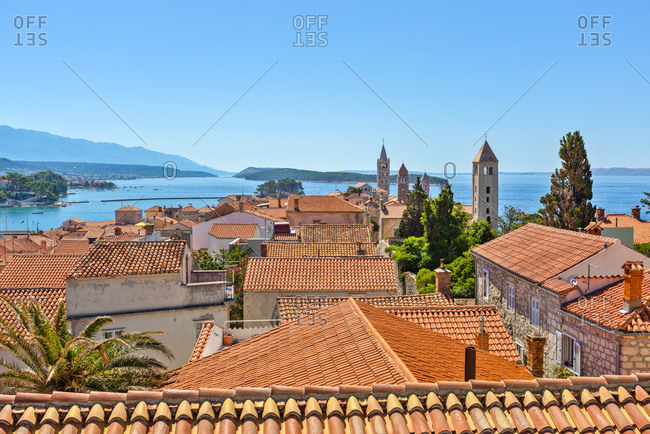 August 1, 2017: View over the rooftops of Rab Town