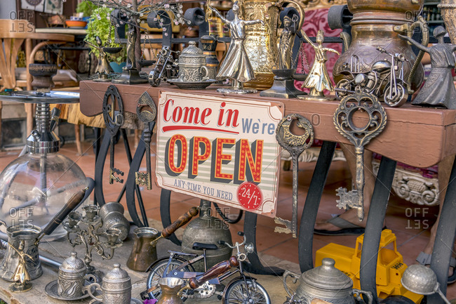 July 8, 2019: Turkish Teapots and other local trinkets & souvenirs on display at one of Kalkan Old Town's most popular cafes