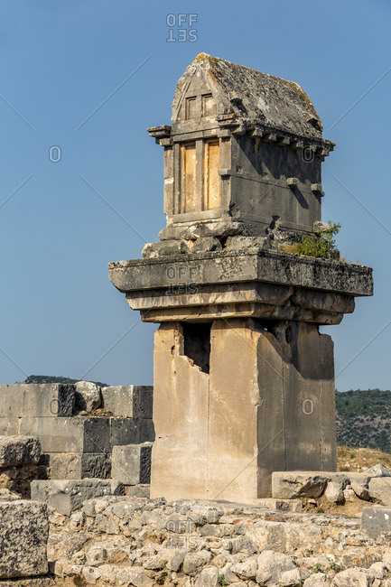 Best preserved stone Sarcophagus (Lycian pillar tomb) at Xanthos, Anatolia