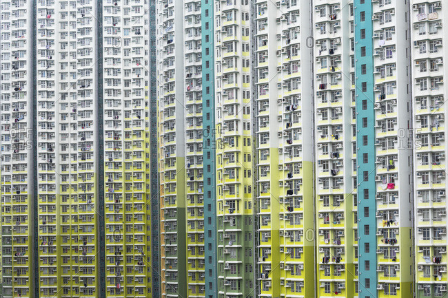 February 24, 2020: Colourful government housing in On Tai Estate, Kowloon, Hong Kong