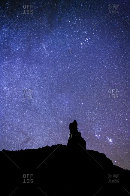Chimney Rock with starry sky, Utah