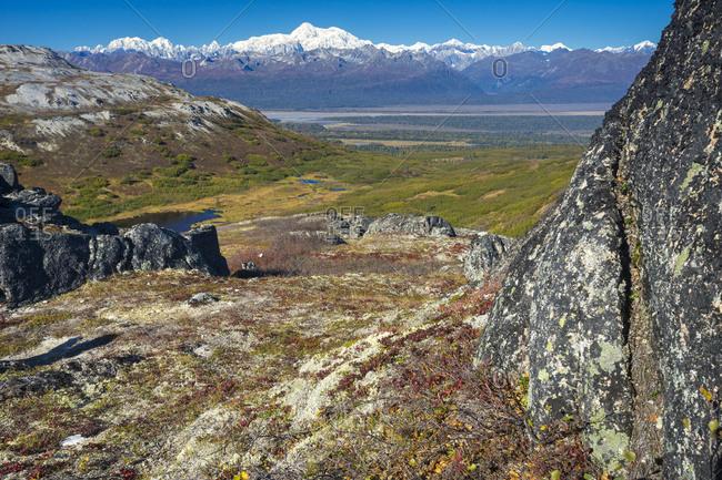 View of snow-capped Alaska Range from K'esugi Ridge