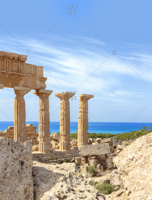 Ancient Greek Temples along coast in Italy, Sicily