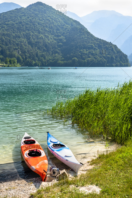 June 26, 2019: Canoes on the shore of Lake Ledro