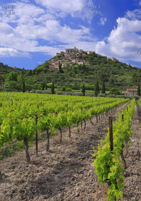 Classic view of the perched village and surrounding vineyards, France, Provence-Alpes-Cote d'Azur