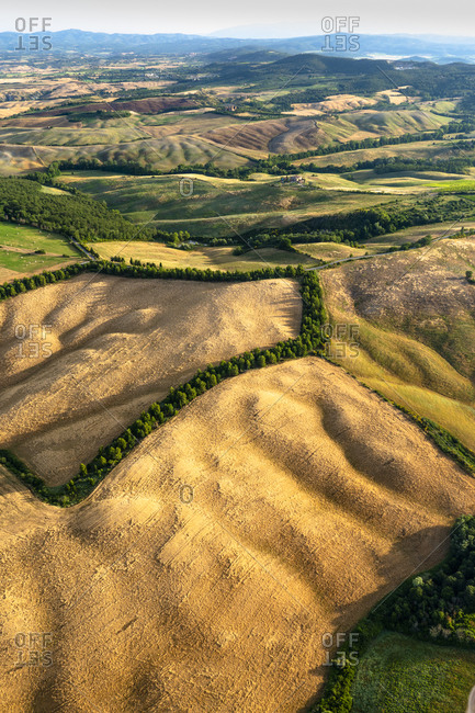 July 2, 2018: The countryside of the Val d'Orcia seen from a hot air balloon, Tuscany, Italy