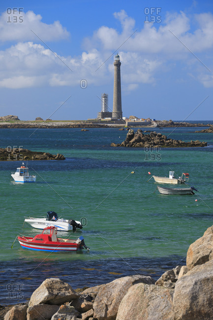 May 28, 2019: View of the Ile Vierge lighthouse from the village, France, Brittany