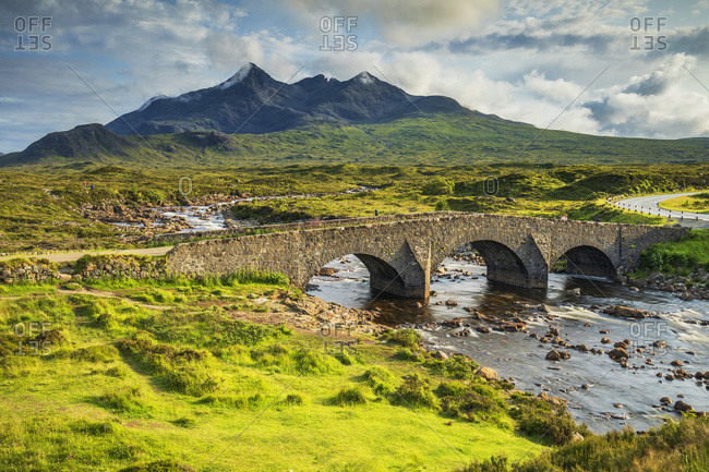 Old Stone Bridge of Sligachan with Cuillin Hills in the background