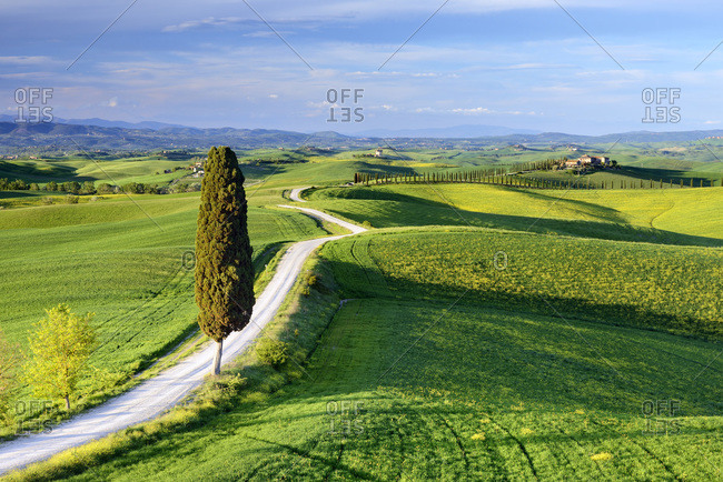 May 2, 2019: View of Tuscany landscape on a sunny day, Italy