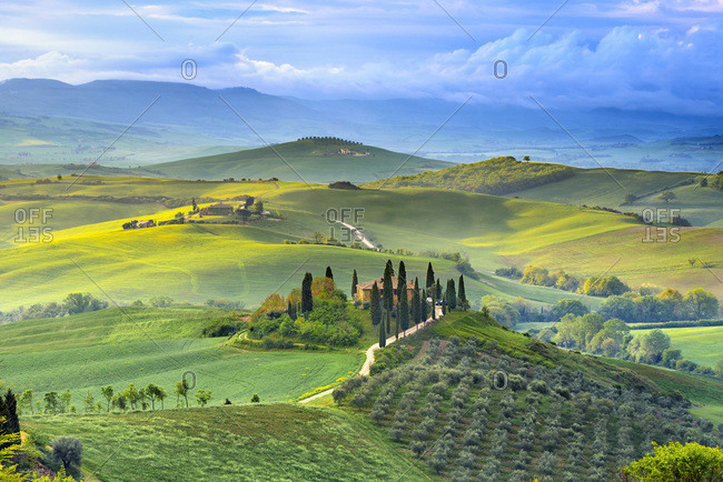 May 5, 2019: View of Tuscany landscape on a sunny day, Italy