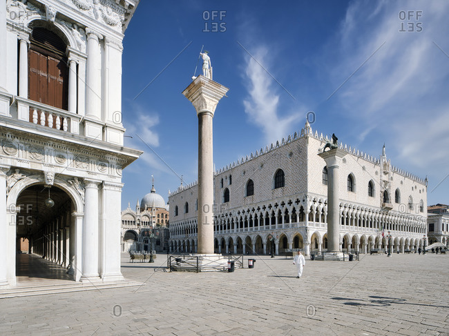 April 2, 2020: Empty Piazza San Marco during the coronavirus pandemic