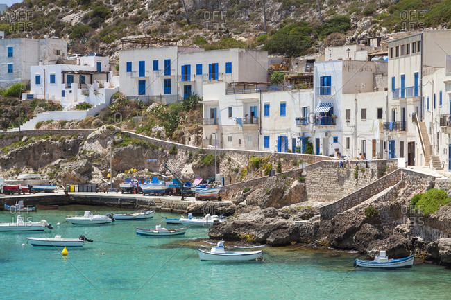 July 14, 2016: Small village of Levanzo and the port, Italy, Sicily