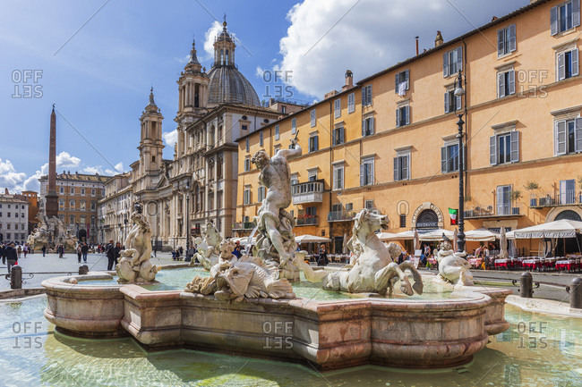 March 7, 2020: Famous square with its fountains, Italy, Latium