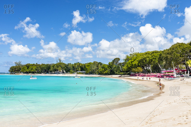 February 27, 2020: Sandy Lane beach, the most pristine and prestigious bay on the island of Barbados.