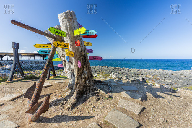 Destination signs outside Animal Flower Cave located in Saint Lucy Parish, North Point.