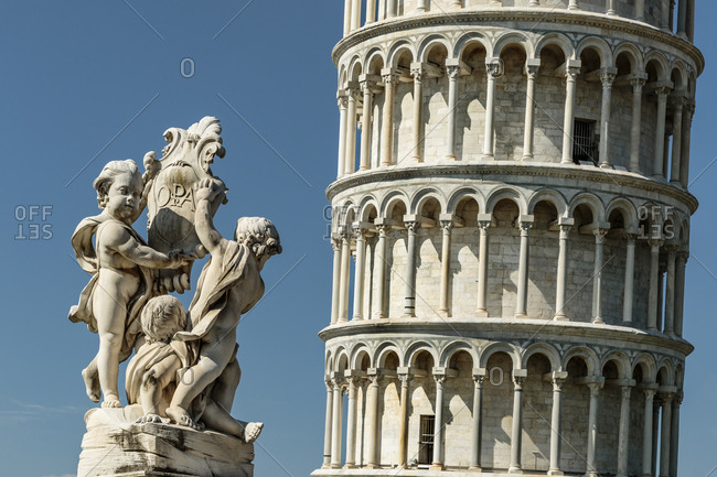 Close up of leaning tower of Pisa in Italy