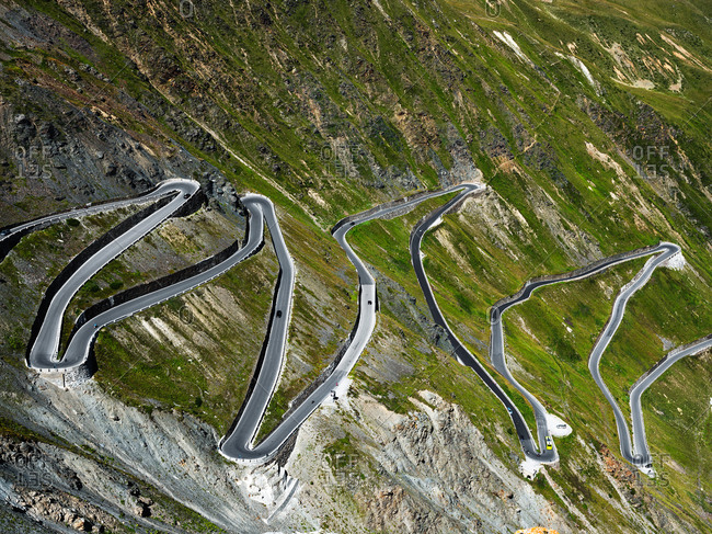 Aerial view of Stelvio road, Italy, Trentino-Alto Adige