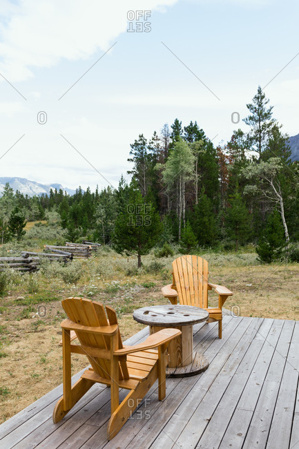 Outdoor sitting area at a cabin getaway