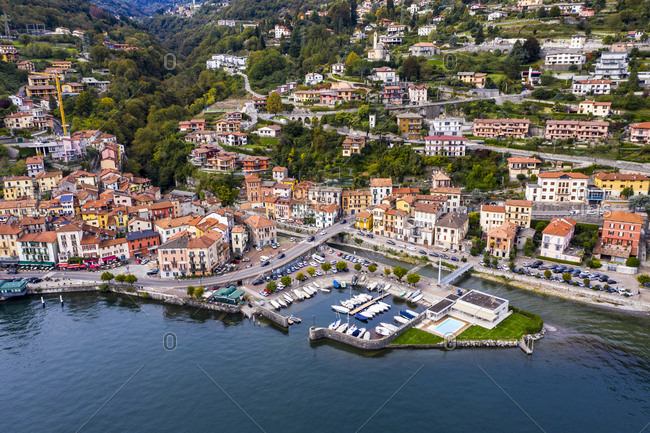 October 9, 2020: Aerial view of Colonno at Lake Como- Lombardy- Italy