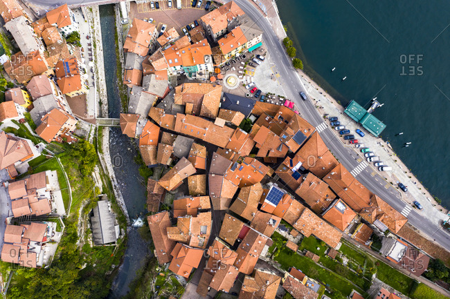 Aerial view of Colonno at Lake Como- Lombardy- Italy