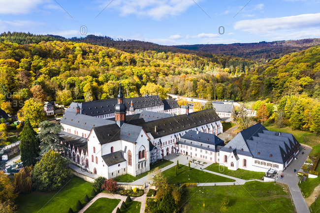 Eberbach Abbey surrounded with forests in Autumn