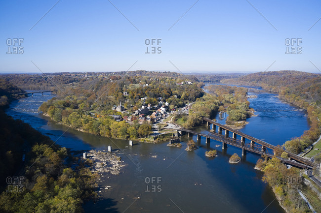 USA- West Virginia-HarpersFerry- Aerial view of town at confluence of Potomac and Shenandoah rivers