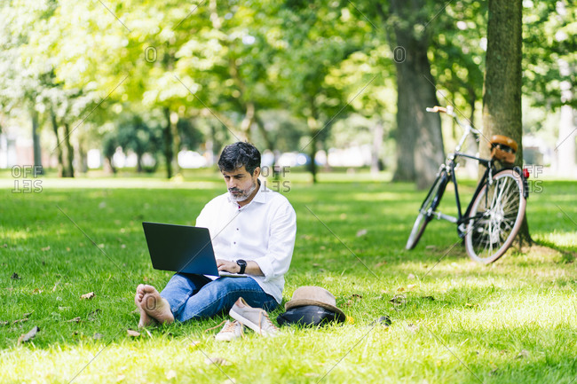 Mature man using laptop while sitting on grass in public park
