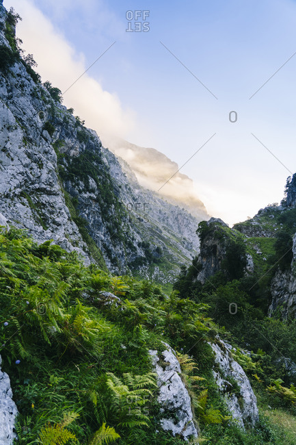 Scenic view of Picos De Europa mountain against sky- Asturias- Spain