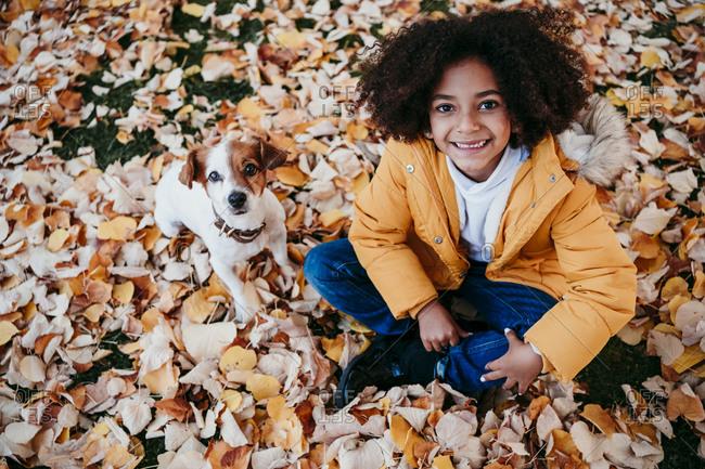 Smiling girl sitting with dog on fallen leaf at park