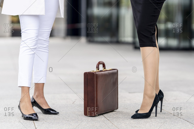 Businesswomen standing by briefcase on footpath