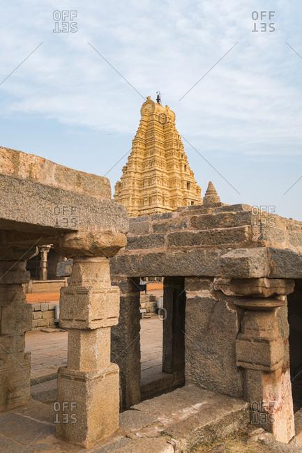 India- Karnataka- Hampi- Architecture of ancient Virupaksha Temple