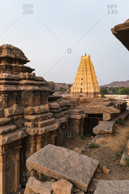 India- Karnataka- Hampi- Architecture of ancientVirupakshaTemple