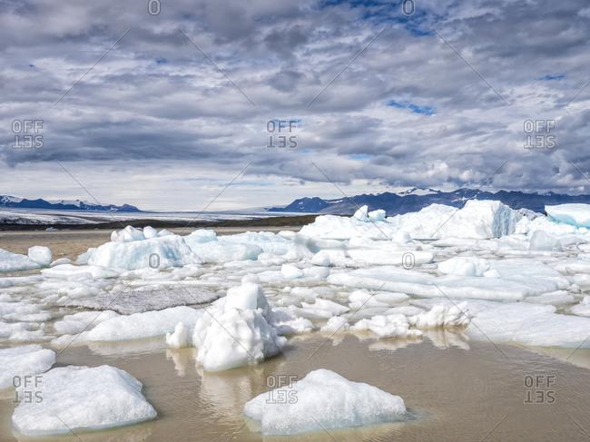 Idyllic shot of glacier at Jokulsarlon by Breidamerkurjokull- Iceland