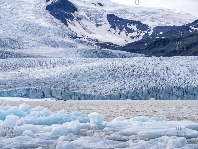 Scenic view of glacier at Jokulsarlon- Breidamerkurjokull- Iceland