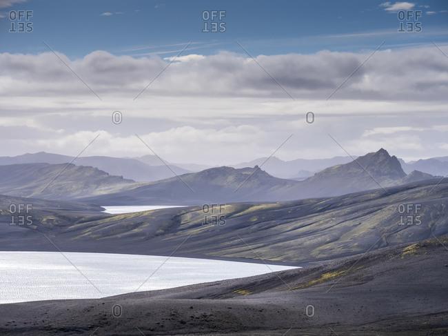 Landscape scenery of volcanic crater- Lakagigar- Iceland