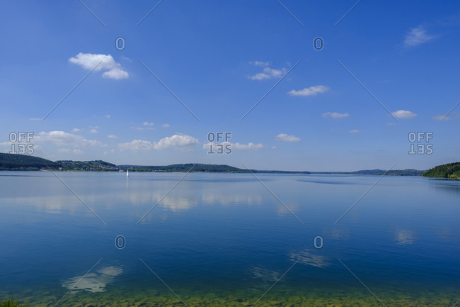 View of calm and blue Brombachsee Lake
