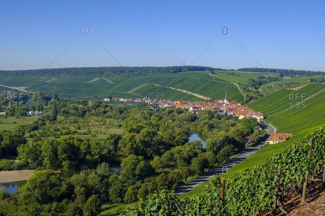 View of village and vineyards