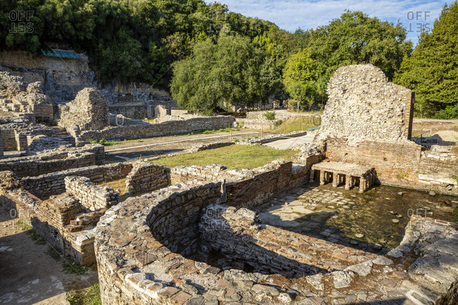 Albania- Vlore County- Butrint- Remains of ancient bath and agora