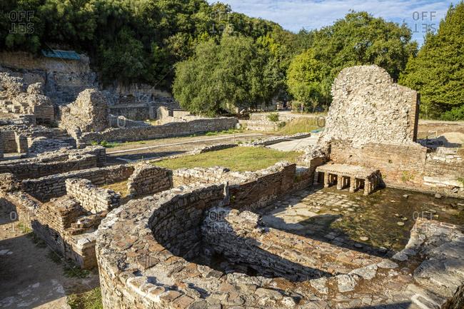 Albania- Vlore County- Butrint- Remains of ancient bath andagora