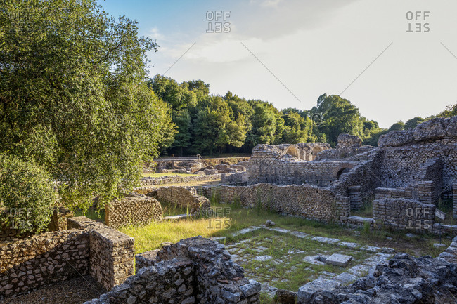 Albania- Vlore County- Butrint- Remains of ancient agora